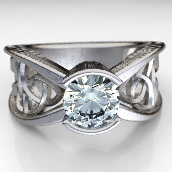 Celtic Moissanite Engagement Ring With Trinity Knot Design in Sterling Silver, Made in Your Size CR-1026