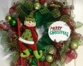 "Adorable Elf ""Merry Christmas"" deco mesh wreath"