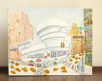 GUGGENHEIM NEW YORK Taxi Nyc Art Canvas Print, Mixed Media Watercolor Painting Manhattan Museum New York City, Clare Caulfield