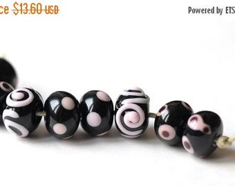 ON SALE Handmade Glass Lampwork Beads - Black Pink Dotted