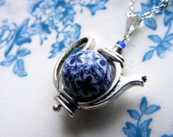 Blue and white silver teapot necklace with handmade polymer clay bead