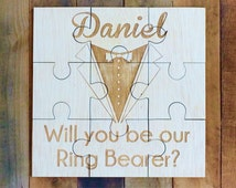 Wedding Party Ring Bearer Gift Personalized Puzzle Ring Bearer Sign Asking Ring Bearer Custom Puzzle Wedding Flower Girl Wedding Ring Bearer