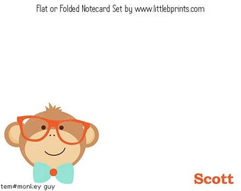 Monkey Bowtie Glasses Personalized Note cards Stationery Set of 10 flat or folded notecards