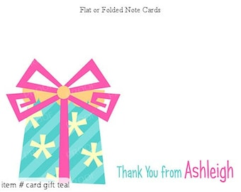 Teal Pink Party Gift Personalized Note cards Stationery Set of 10 flat or folded notecards