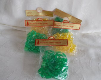 Vintage Nos Mod Plastic Beaded Curtain String For Crafts Lot