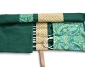 Green Knitting Needle Organizer, Knitting needle case, Crochet Hook Holder