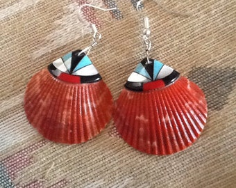 EARRINGS SPINY OYSTER Shell Mosiac
