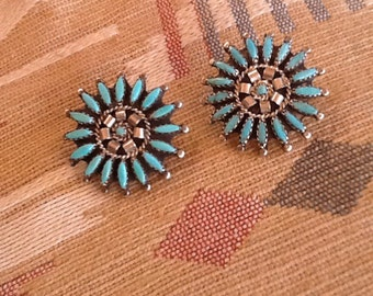 EARRINGS Large Zuni Needlepoint Sterling & Turquoise