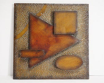 Modernist Hammered Metal Abstract Wall Art