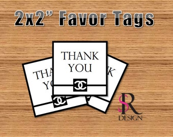 Chanel Favor Tags, Chanel Inspired Favor Tags, Chanel Party 2x2in.