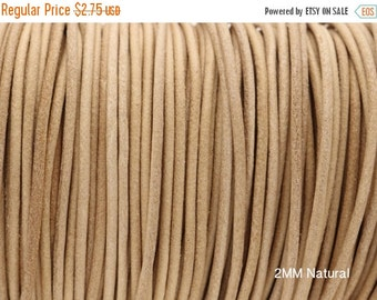 30% OFF 2MM Round Natural Leather Cord - European Leather Cord - 1M/39.4""
