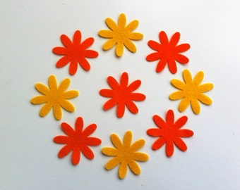 Yellow and orange felt daisy flowers.For sewing projects,bunting,cushions,applique,garlands,cardmaking & scrapbooking,felt flower headbands