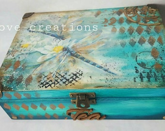 Dragonfly Tea Box wooden tea caddy, vintage kitchen decor, wooden storage, Vintage box, 6 compartments, can be customized,turquoise wood dye