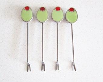 Green Olive Metal Cocktail Hors D'Ouervre Forks/Picks Vintage Set of 4