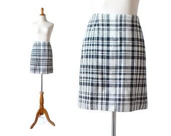 Plaid Skirt, Black and White Skirt, Eddie Bauer Vintage Skirt, Wool Skirt, Short Skirt, 1960s style skirt, 60s style skirt, mod skirt
