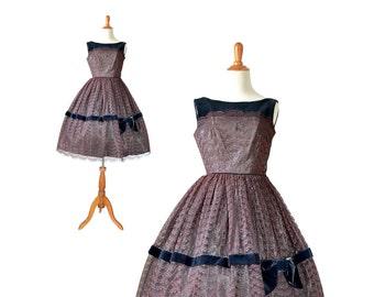 1950s Dress, 50s Dress, 1950s Party Dress, 50s Party Dress, Prom Dress, Velvet Dress, Lace Dress, Womens 1950s Dress, XS 50s Dress, Small