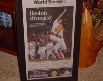 2013 Boston Red Sox original newspaper World Series Champions custom framed rustic cedar