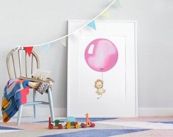 Big kids print, UNFRAMED large childrens art, baby nursery picture, big bright poster, balloon illustration, for kid's bedroom