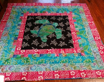 "Turtle Lap Quilt Batik Fabrics  50"" x 50"""