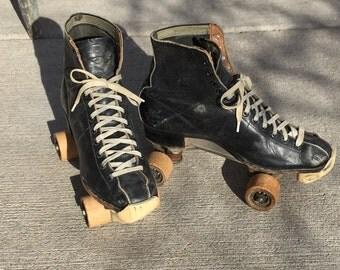 Vintage black roller skates