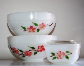 "Set of 2 vintage Fire King peach blossom ""Gay Fad"" fruit, serving, small mixing bowls and 1 covered refrigerator dish"