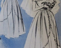 Vintage Advance 1940s Womens Beautiful Wedding Gown Sewing Pattern# 5177  Size 14 Bust 32** Epsteam