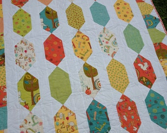 Handmade child's quilt patchwork woodland animals gender neutral bed quilt 45 inches by 68 inches Moda fabric