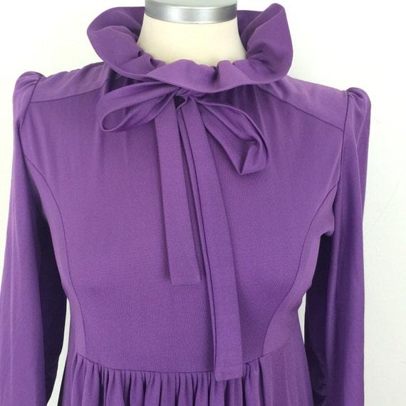 purple dress maxi dress long high frill neckline lilac vintage 1970s disco Biba style boho hippy festival UK 10 12 Victoriana Fenwick London