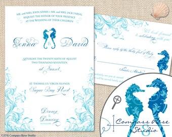 Seahorse Wedding Invitation, Beach Wedding, Nautical Invites, Tropical Destination Wedding, Elopement Announcement, Elope Reception