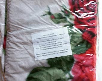 Vintage Rose Print Fleece Throw, in original sealed package, lap blanket, travel blanket, cottage style, shabby chic