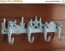 ON SALE TODAY Sea Theme Rack/ Nautical Hook/ Cast Iron/ Aqua Blue/ Towel Hook/ Bathroom Hook/Jewelry Organizer