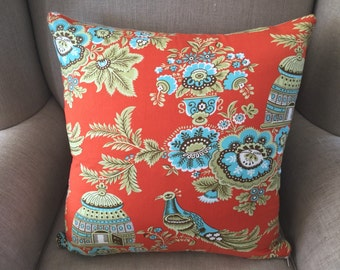 Cushion Cover/Pillow in Amy Butler Belle Royal Garden Clay Orange colourway