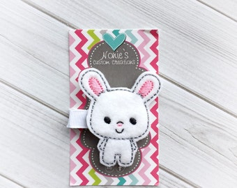 Bunny Hair Clip - Bunny Barrette - Easter Hairclip - Easter Bunny Hair Clip - Felt Hair Clip - Bunny Feltie - Easter Feltie
