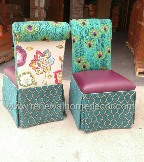 Upholstered Parsons Dining Chairs With Tailored Skirt Rolled