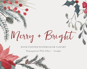 Christmas Clipart  - High Res Transparent PNG - Watercolor Christmas Hand Painted Digital Scrapbook elements - Instant download