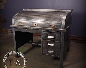 Vintage Industrial Steel Roll Top Bankers Desk