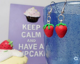 Retro classic sweets, cake or fruit drop style earrings (one pair) (Quirky, fun, unique, novel, handmade)