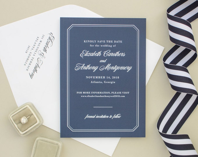Formal Save the Date Card for Nautical Wedding, Navy Blue Wedding Save the Dates, Non Photo Engagement Announcement | Dashing