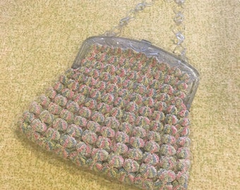 1950s Pastel Knit Purse with Clear Plastic Clasp and Handle