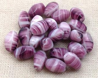 25 Vintage Purple Striped Czech Glass Oval Beads 9x5mm