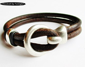 Leather Wrap Bracelet - Distressed Dark Brown - Double Strand Licorice Leather, Antique Silver Hook Clasp, Leather Cuff Bracelet