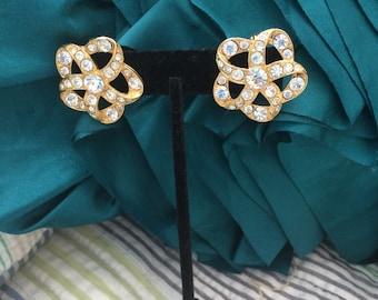 Vintage Monet rhinestone clip on earrings