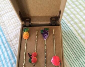 Vintage Enamel Bobby Pin set in original box