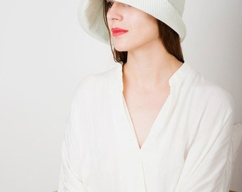 On sale Women Summer hat/ hat for sun white green  stripes cotton cloche hat with long flixible brim bucket hat 1920 style