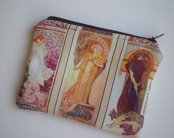 Coin purse, Small zipper pouch, Card wallet, Gift idea, Alphonse Mucha art, Art Nouveau