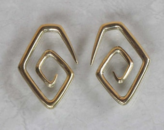 Brass ear wights # body jewelry, square spiral styles wearable size 4 mm