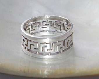 New Hand Made Solid.925 Oxidized Sterling Silver Band Ring with Greek Design