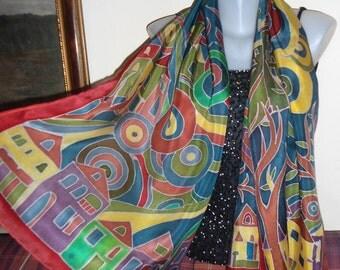 My hundertwasser -  silk scarf hand painted - size 170x45 cm