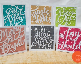 Set of 6 Typography Handcut Christmas Cards - Bright and Traditional