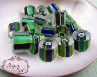Blue Green Mixed Cane Glass Beads, fun, kitchy, striped beads, St. Patricks Day, jewelry making, kids beads, beading - reynaredsupp